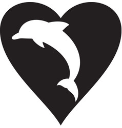 dolphin and heart icon vector image