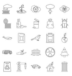 Eco catastrophic icons set outline style vector