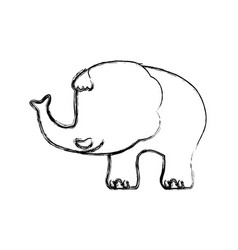 Elephant cartoon drawing childish faceless vector