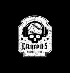 Emblem of college baseball team vector