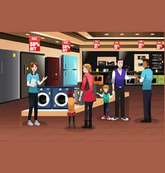 Family shopping for appliances vector