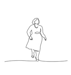 Fat woman walking continuous one line drawing vector