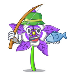 Fishing columbine flower mascot cartoon vector
