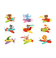Flat set with cute animals flying in vector