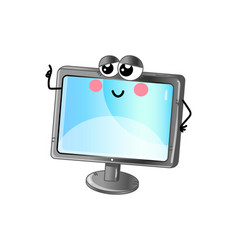 funny lcd tv cartoon character vector image
