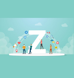Generation z concept people with team and people vector