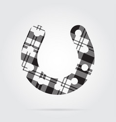 Grayscale tartan icon - horseshoe with holes vector