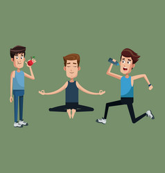 group people exercise healthy vector image
