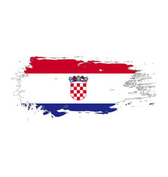 Grunge brush stroke with croatia national flag vector