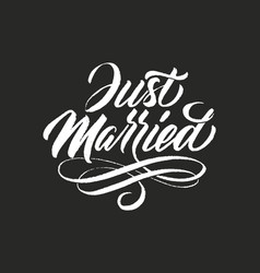 Hand drawn grunge lettering just married elegant vector
