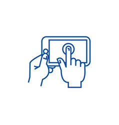 hands touching tablet line icon concept hands vector image