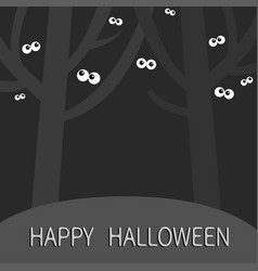 Happy halloween landscape with scary tree forest vector