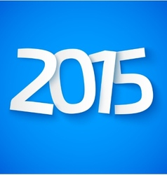 Happy new year 2015 paper text on blue background vector image