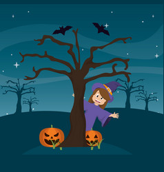 happy witch back tree with pumpkin and bats vector image