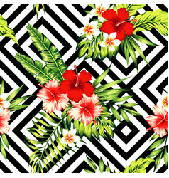 Hibiscus and palm leaves tropical pattern black vector
