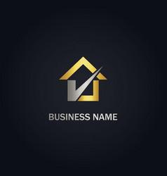 Home check mark agent gold logo vector