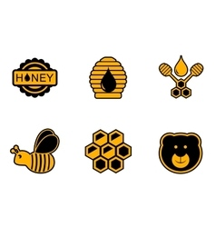 Honey yellow icons vector