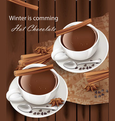 Hot chocolate cups realistic cinnamon vector