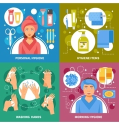 Hygiene Concept 4 Flat Icons Square vector