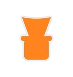Icon sticker realistic design on paper shisha bowl vector