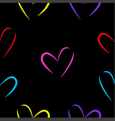 isolated black background hearts vector image
