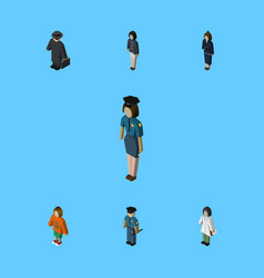 Isometric human set of officer businesswoman vector
