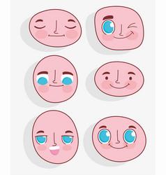 kawaii cartoon faces expressions facial set vector image