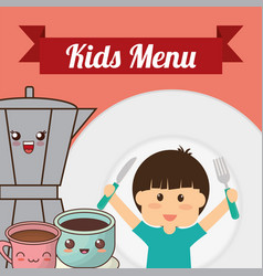 Kids menu boy fork knife coffee chocolate vector