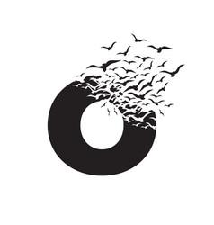 Letter o with effect destruction dispersion vector
