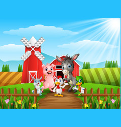 Little animals in front of cattle warehouse vector
