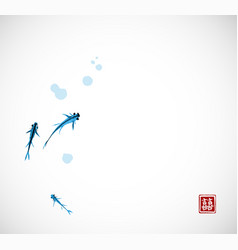 Little blue fishes hand drawn with ink on white vector