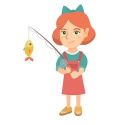 little girl holding fishing rod with fish on hook vector image