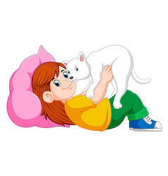 Little girl relaxing on the bed with her kitten vector