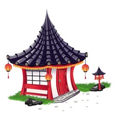 Little house on in the japanese style vector