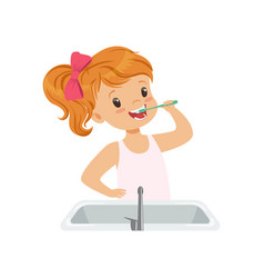 Lovely girl brushing her teeth kid caring for vector