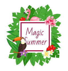 magic summer background beach design jungle vector image