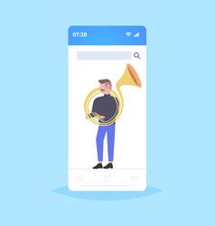 Man tuba player musician playing baritone jazz vector