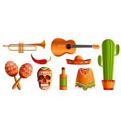 mexican music icon set cartoon style vector image