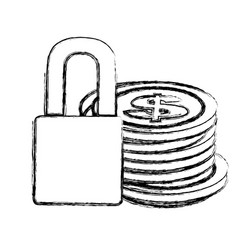 monochrome sketch of coins stacked and padlock vector image
