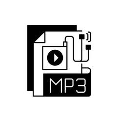 Mp3 audio file black linear icon vector