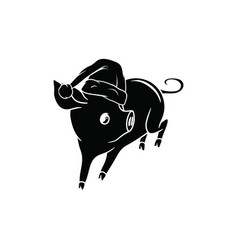 New year 2019 little pig with a hat running vector