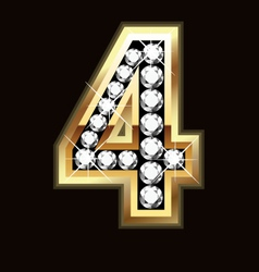 Number four bling gold and diamonds vector