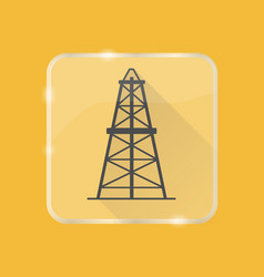 Oil derrick silhouette icon in flat style on vector