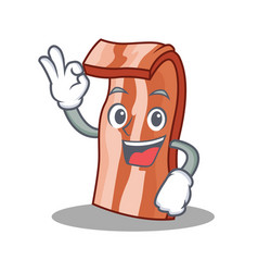 Okay bacon character cartoon style vector