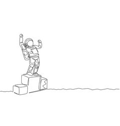 One continuous line drawing astronaut standing vector