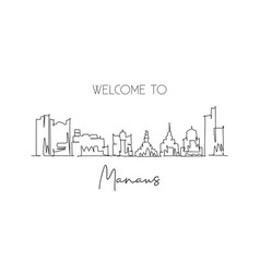 one continuous line drawing manaus city vector image