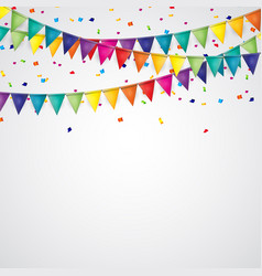 party background with flags and confetti vector image