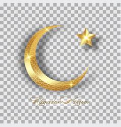 Ramadan kareem 2021 isolated gold half moon vector