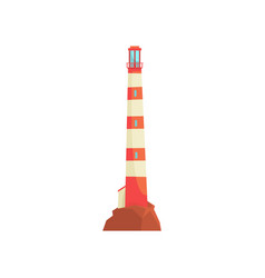 red and white lighthouse tower with a beam of vector image