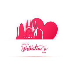 red heart and silhouette of barcelona city paper vector image